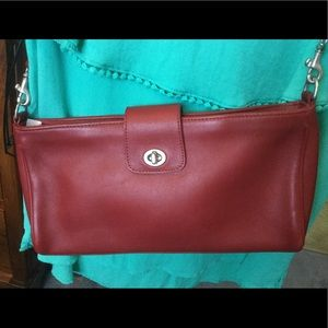 COACH PURSE, RED WITH REMOVABLE STRAP